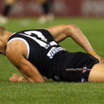 MELBOURNE, AUSTRALIA - APRIL 09:  Nick Riewoldt of the Saints lies on the ground in pain after injuring his hamstring during the round three AFL match between the St Kilda Saints and the Collingwood Magpies at Etihad Stadium on April 9, 2010 in Melbourne, Australia.  (Photo by Ryan Pierse/Getty Images)